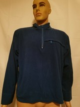J Crew Blue Fleece Jacket Mens Size Large Long Sleeve Half Zip Front Pocket - $16.90