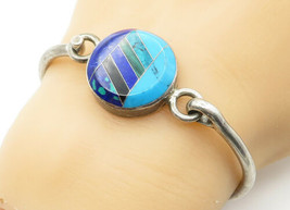 MEXICO 925 Silver - Vintage Turquoise & Multi-Stone Bangle Bracelet - B6265 - $69.70