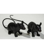"PAIR OF 2 BLACK RUBBER RAT 9"" HALLOWEEN DECORATION PROP SQUEAKER SQUEAK ... - $10.93"