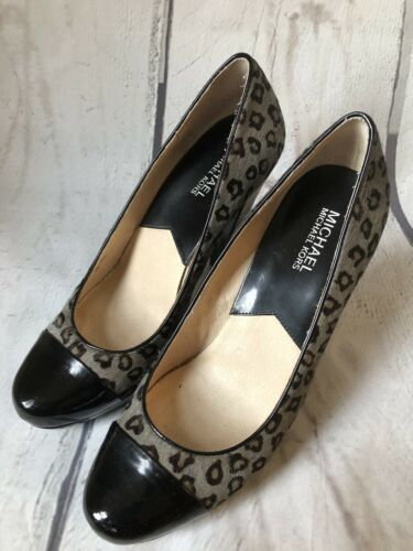 Primary image for MICHAEL KORS Womens Grey Black Cheetah Print Calf Hair Platform Heels 9.5 M