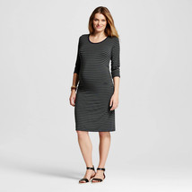 Liz Lange Maternity Olive Navy Striped Scoop Neck 3/4 Sleeve T-Shirt Dre... - $9.74