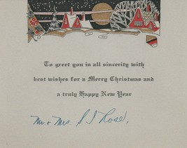Vintage Christmas Card Cottages in Snow 1920's Art Deco Moon Trees Red Gold - $8.90