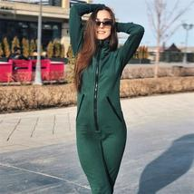 InstaHot Green Zipper Hooded Jumpsuits Women 2018 Autumn Sexy Slim Casua... - $48.10