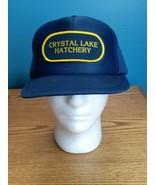 Vintage Crystal Lake Hatchery Patch Snapback Blue Hat Cap WearGuard  - $19.75