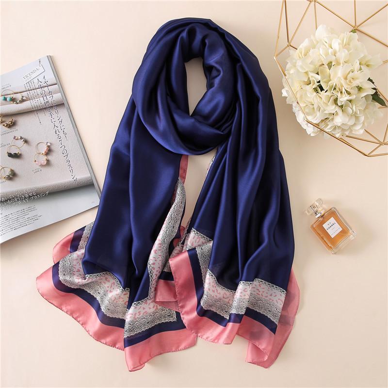2018 luxury brand Women Silk scarf Beach Shawl and Echarpe Luxurious Wrap Design image 5