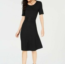 Maison Jules Women's Short Sleeve Belted Fit & Flare Black Midi Dress Si... - $19.62
