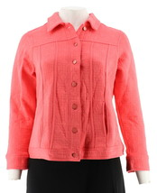 Isaac Mizrahi Chic Quilted Button Front Knit Jacket Passion Fruit 3X NEW... - $37.60