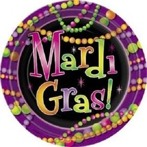 "Mardi Gras Beads 9"" Lunch Plates 8 ct Party Tableware - $1.99"