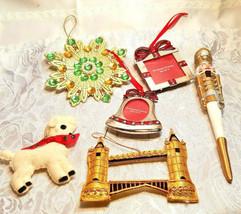 6 Vintage Christmas Ornaments Nut Cracker Picture Frames Lamb Bridge Star Snowfl