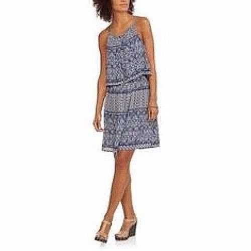 3038da9f Faded Glory Women's Lampshade Dress White Blue Print Size Small 4-6 New -  £15.41 GBP