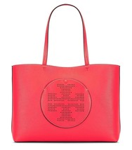 b608d6b8520 NWT TORY BURCH PERFORATED LOGO LEATHER TOTE RED GINGER   TUSCAN WINE -  £209.13 GBP