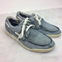 ECCO Androw Retro Light Blue Leather Lace Up Boat Loafer Shoes Size 8-8.5 - $23.33