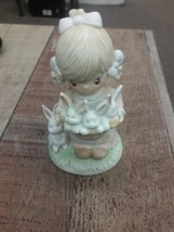 Homco Home Interiors Porcelain little girl with basket of rabbits #1444 - $12.38