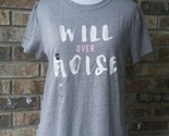 Under Armour Women's Sz Small Will Over Noise Power In Pink Gray S/S T-Shirt NEW