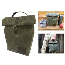 Insulated Waxed Canvas Lunch Bag Men Genuine Leather Strap Food Containe... - $317.95