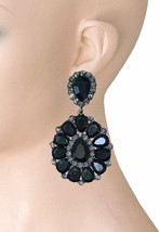 "3.25"" Long Cluster Clip On Earrings, Black Gray Rhinestones, Drag Queen,... - $18.95"