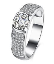 Sterling Silver Wedding Ring Shiny Zircon Charm Gemstone Micro Inlay Ann... - $41.64