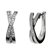 Pave Clear 5A Cubic Zirconia U Shape X  Hoop Rhodium CZ Earrings 21MM - $24.74