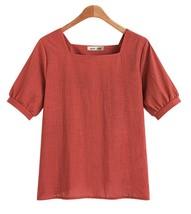 Womens blouses M-5XL Plus Size  U neck Cotton linen Shirts Tunics  - $18.99