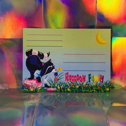 Vintage Lisa Frank Raccoon Family Envelope  One Unmarked Piece Racoon