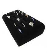 Black Velvet Slotted 18 Ring Display Pad-Jewelry Tray 18 slots  - $14.99
