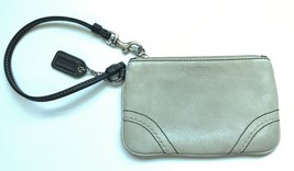 Coach Zip Small Leather Wristlet Change Purse Gray Taupe  - £12.52 GBP