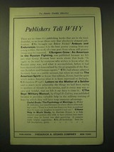 1918 Frederick A. Stokes Company Ad - Publishers Tell Why - $14.99
