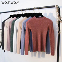 Shiny Lurex Long Sleeve Pullover Womens Basic Sweaters Korean Style Knit... - $17.31