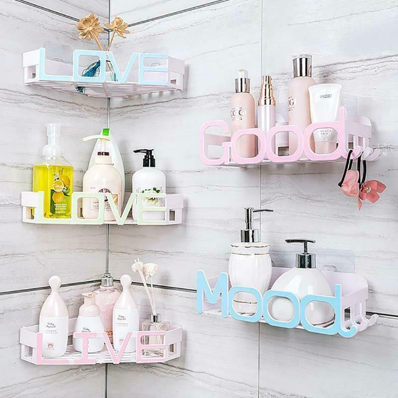 Corner Storage Wall Mounted Plastic Suction Bathroom Shelf Storage Basket Holder image 6