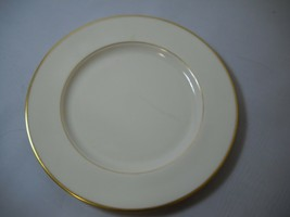 DINNER PLATE from LENOX China MANSFEILD Made in USA Cream with GOLD RIM  - $19.79