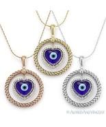 Evil Eye Diamond Pendant Turkish Greek Heart Charm 925 Sterling Silver N... - $348.99