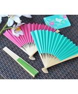 Colored Spring Summer Paper Fan Bridal Wedding Favor Pink Aqua Orange Ye... - $50.83+