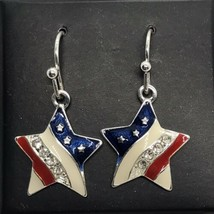Avon NRQ Star Earrings Independence Day 4th Pierced Dangle Red White Blue - $17.82
