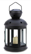 Colonial star black metal glass hanging candle holder patio deck path la... - $14.00