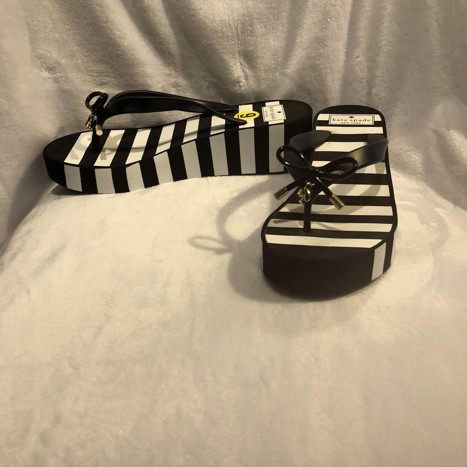 dbd462f94 KATE SPADE Rhett Black+White Striped Wedge and 30 similar items. S l1600