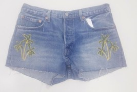 Levis 501 Button Fly Jean size 31 Cut Off women Shorts Embroidered Palm... - $37.88