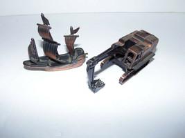 Vintage Miniature Brass Ship and Construction Excavator Pencil Sharpener... - $39.55