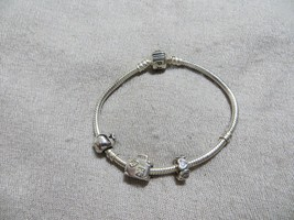 Authentic  PANDORA Sterling Bracelet w/2 Retired Beads Charms +Gift Charm  - $64.99