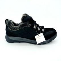 Lands End Womens 420475 Powder Belle Suede Shoe Faux Fur Lace Up Black 7.5B New - $44.54