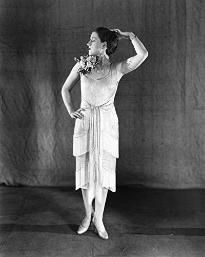 Primary image for Norma Shearer posing in sleeveless dress flowers on shoulder 16x20 Canvas Giclee