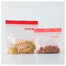 IKEA RED ISTAD 60 Pieces Plastic Bag~Ziplock Bag~Food Storage~Snack Bag - $17.75
