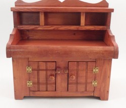 Amazing Old Salesman Sample Small Doll Toy Furniture Hutch Cupboard w/ D... - $133.60
