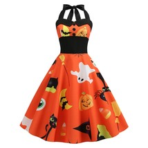 Pumpkin Ghost Buttons Halloween Halter(HALLOWEEN ORANGE L) - $20.57