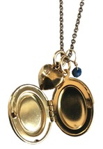 Alisa Michelle Gold Plated Loved Oval Locket with Blue Sodalite Gemstone Charms image 2