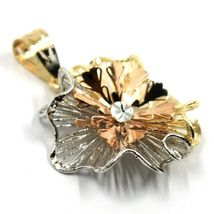 18K YELLOW WHITE ROSE GOLD FLOWER ONDULATE FINELY WORKED RAYS PETALS 2cm PENDANT image 3