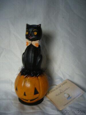 Bethany Lowe Black Cat Halloween Kitty on a Jack O Lantern Pumpkin