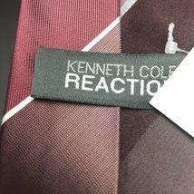 KENNETH COLE Men Maroon WHITE STRIPE DRESS SILK NECKTIE Tie image 3