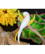 Vintage Parakeet Budgie Parrot Bird Brooch Pin Enamel Yellow White - $22.95