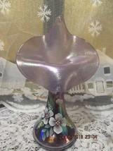 FENTON ART GLASS VIOLET JACK IN THE PULPIT VASE W/HP FLORAL-D. BARBOUR - $125.00