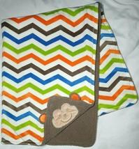 NEW Baby Starters Plush MONKEY Blanket Orange Blue Green Chevron Zig Zags Brown - $25.25